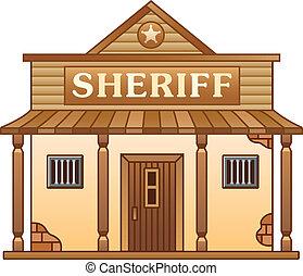 ouest sauvage, bâtiment, bureau, sheriff's