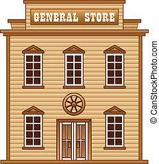 ouest sauvage, bâtiment, magasin, général
