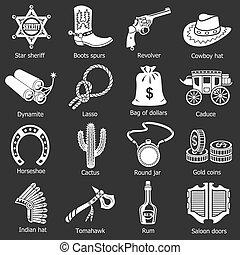 ouest sauvage, icônes, ensemble, gris