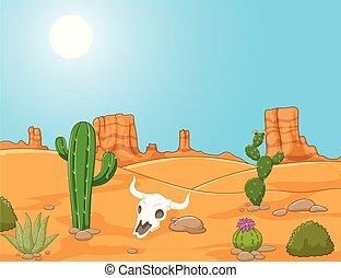 ouest sauvage, paysage, dessin animé, désert
