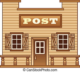 ouest sauvage, poste, bâtiment, bureau