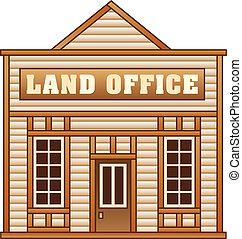 ouest sauvage, terre, bâtiment, bureau