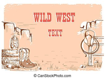 ouest sauvage, text., fond, cow-boy
