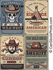 ouest, shérif, sauvage, cow-boy, crâne, fusils