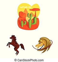 ouest, stock., américain, illustration, icône, sauvage, vecteur, ensemble, symbole.