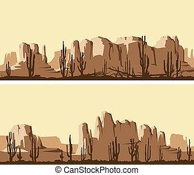 ouest, stylisé, sauvage, desert., bannières horizontales