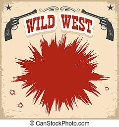 ouest, texte, revolvers, fond, affiche, sauvage