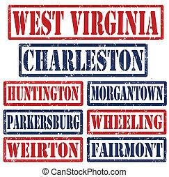 ouest, timbres, villes, virginie