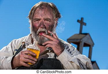 ouest, vieux, ivre