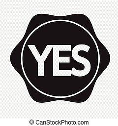 oui, bouton, icône