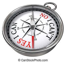oui, compas, non, concept, vs