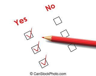 oui, non, stylo, boîte, rouges, chèque