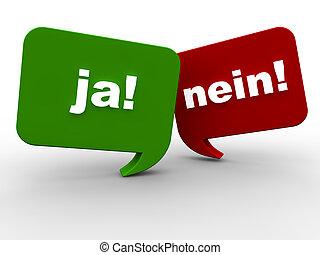 oui, ou, non, -, allemand