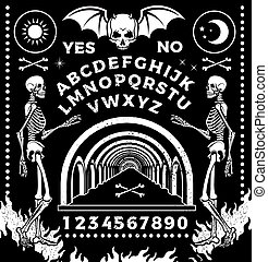 ouija, asse, set., skeletons., vettore, occultismo, ...