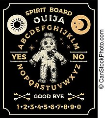 Ouija Board With a Voodoo Doll. Occultism Set. Vector.