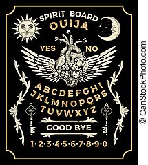 Ouija Board With Lock Heart. Occultism Set. Vector