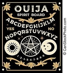 Ouija Board With Pentagram. Occultism Set. Vector