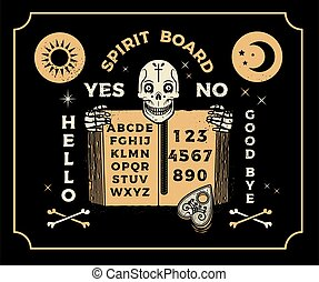 Ouija Board With Skeleton, Old Book. Occultism Set. Vector Illustration.