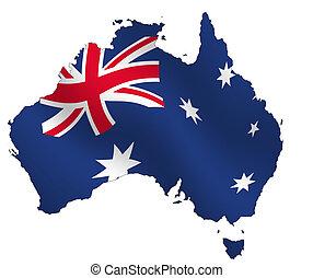 Australia - Ouline of Australia, filled with waving flag,. ...