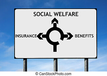 Road sign with roundabout directions pointing towards social welfare insurance and benefits to illustrate the financial crisis