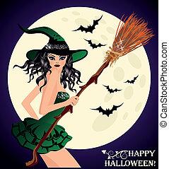 oung, felice, halloween., strega