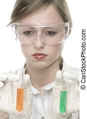 oung, kvinna, in, laboratorium, med, provrör