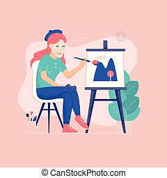 oung Woman Painter Drawing Picture on Canvas
