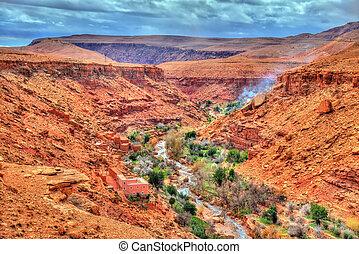 ounila, asif, 高く, モロッコ, 風景, 地図帳, 谷, 山