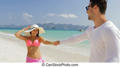 ?ouple Walking On Beach, Girl Holding Man Hand, Tourists In...