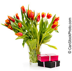 ?ouquet of orange tulips on a white background