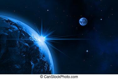 Our galaxy - Space landscape (earth, sun, moon). Sunrise. 3D...
