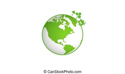 Our green Planet - Rotating planet with eco symbols for the ...