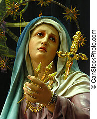 Our Holy Sorrowful Mother - A detail of the statue of Our...