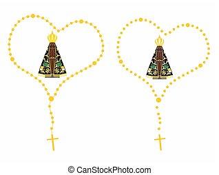 Our Lady Aparecida Colored Rosary - Our Lady Aparecida...
