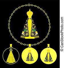 Our Lady Aparecida Gold Medal - Our Lady Aparecida vector...