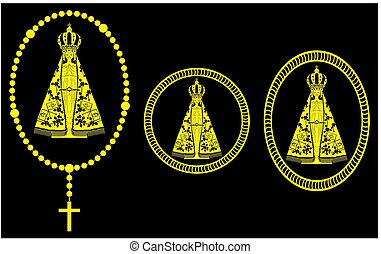 Our Lady Aparecida Gold Rosary and medal. - Our Lady...