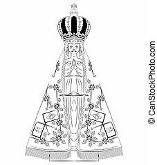 Our Lady Aparecida outline only - Our Lady Aparecida vector...