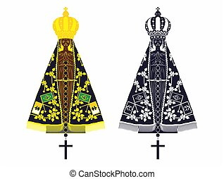 Our Lady Aparecida set with different colors and rosary -...