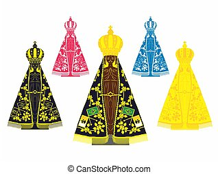 Our Lady Aparecida set with different colors - Our Lady...