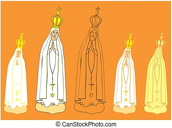 Our Lady of Fatima statue. Symbol of Christianity. Patron of Portugal. Vector art.