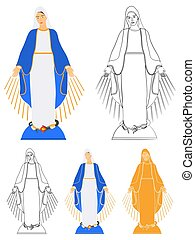 Our Lady of Grace colored and outline only