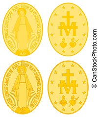 Our Lady of Grace gold medal colored and outline. Christian symbol. Protection against evil. Vector art.