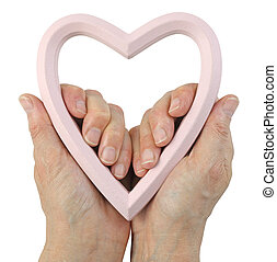 Our Love is in Our Hands Concept - female hands holding a ...