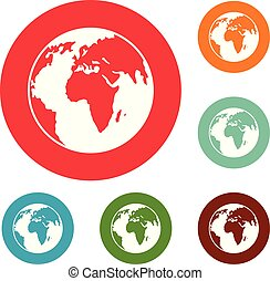 Our planet icons circle set vector