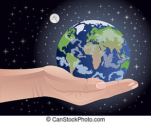 Conceptual vector illustration of an androgynous human hand cradling the Earth. Globe map intentionally distorted to show all continents on the planet.