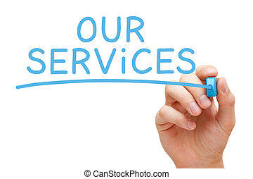 Our Services Handwritten With Blue Marker