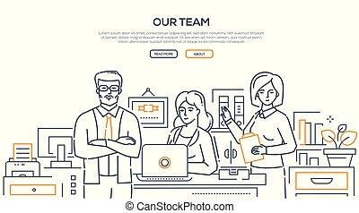 Our team - modern line design style banner on white...
