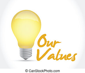 our values ideas concept illustration design over a white ...