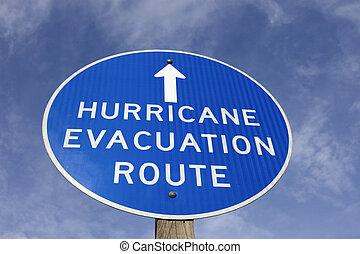 ouragan, évacuation, parcours, signe