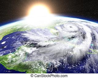 ouragan, coucher soleil